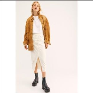 Free People Ivory Echo Twill Midi Skirt